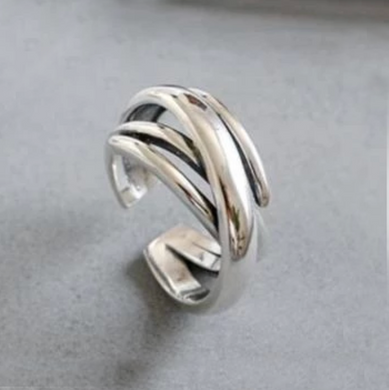 Stunning Sterling Silver Geometric Cuff Ring