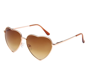 Tan Lens Heart Sunglasses