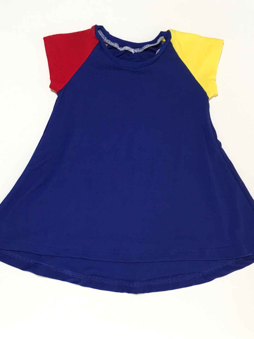 Red, Yellow, & Blue Raglan Swing Dress (Autism Awareness) - SweetChildsBoutique