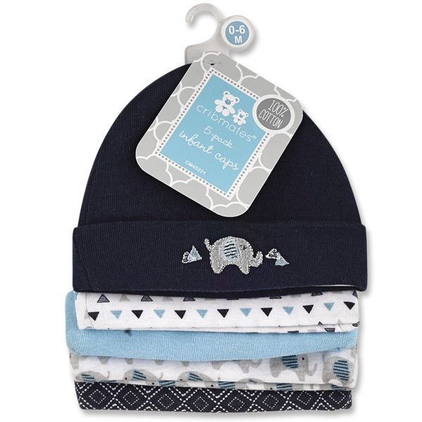 Boys Infant Cotton Hats (5 pack)