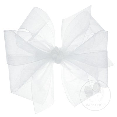 Wee Ones Medium Classic Organza Double Bow- White