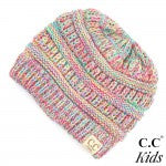 CC Brand Solid Color Kids Beanie with Ponytail Hole