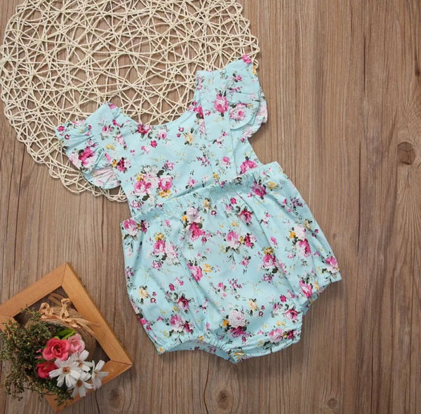 Infant Girls Floral Romper with Snaps