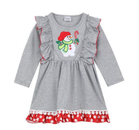 Girls Snowman Dress/Shirt with Red Trim