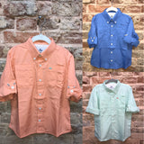 Southbound Fishing Shirt (Beach Glass, Cantaloupe & Marina Blue)