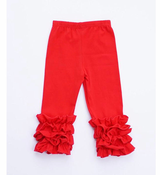 Girls Red Ruffle Icing Pants