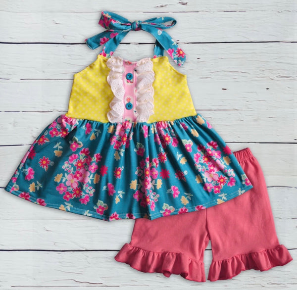 Girls Ruffled Short Set