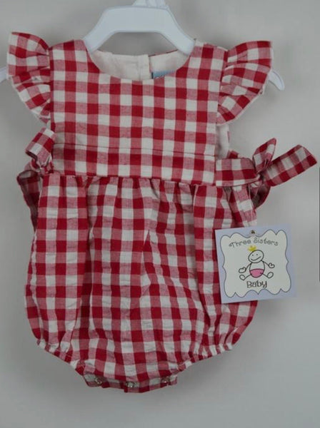 Three Sisters Girls Red Gingham Bubble with Ties