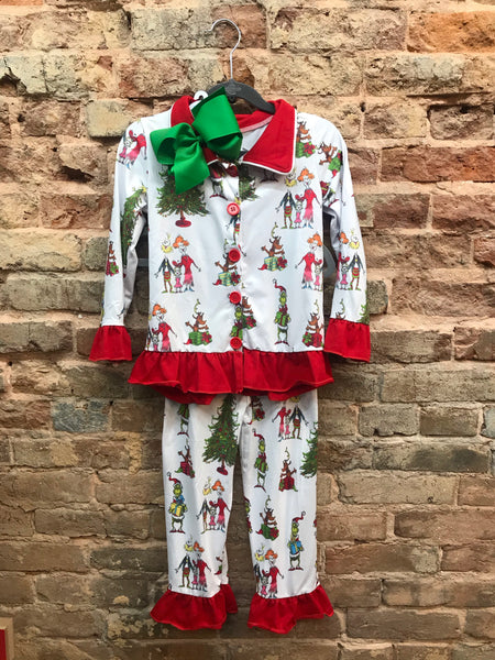 Girls Grinch Christmas Ruffle Pajama Set