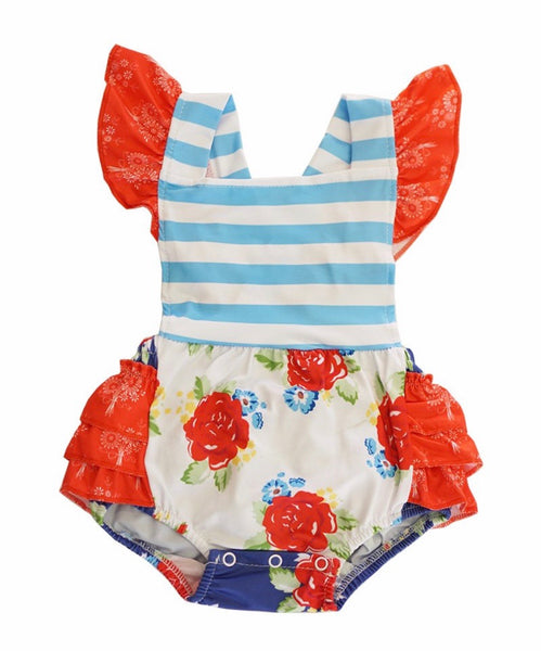 Floral Ruffle Infant Girl Romper