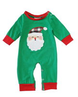 Boys Green Santa Applique Romper
