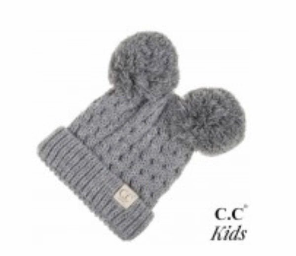 Grey Double Pom CC Beanie for Kids