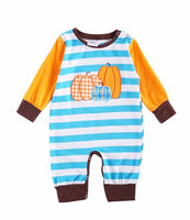 Infant Boys Pumpkin Appliqué Romper