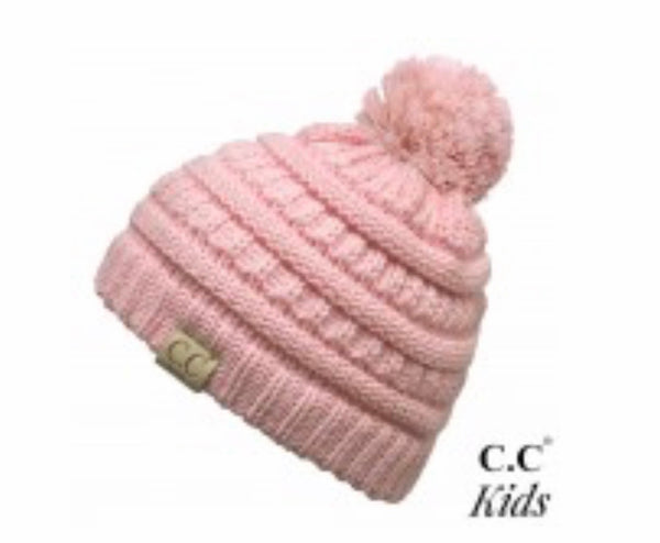 Pale Pink CC Beanie with Pom for Kids