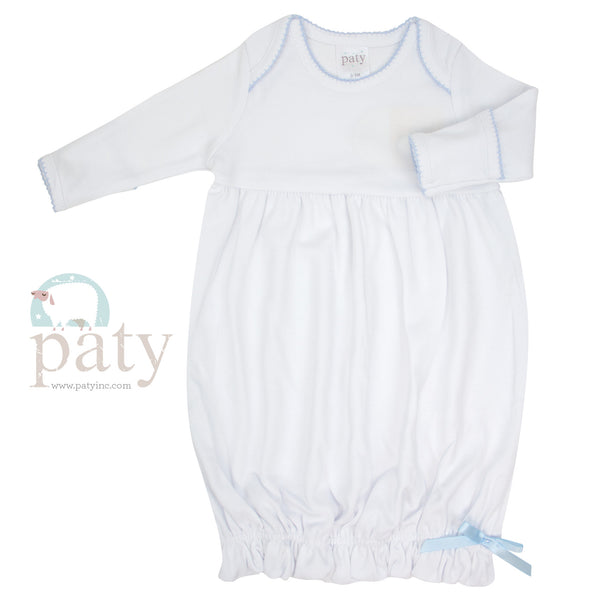 Paty Overlap Cotton Gown with Trim