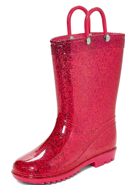 Lilly of New York Girls Pink Glitter Rain Boots