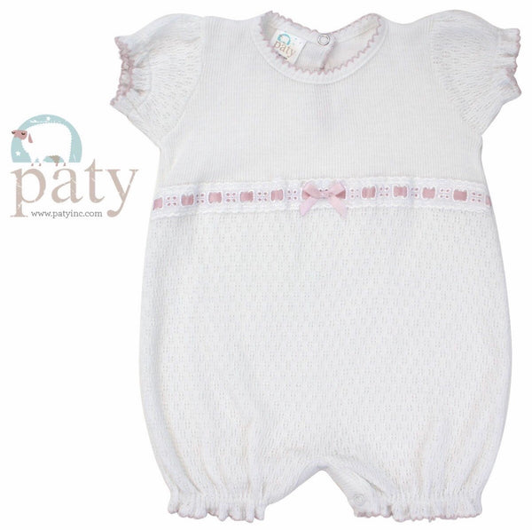 Paty Bubble With Pink Eyelet Trim