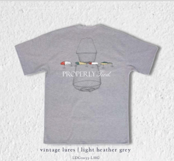 Properly Tied Grey fishing lure T-shirt