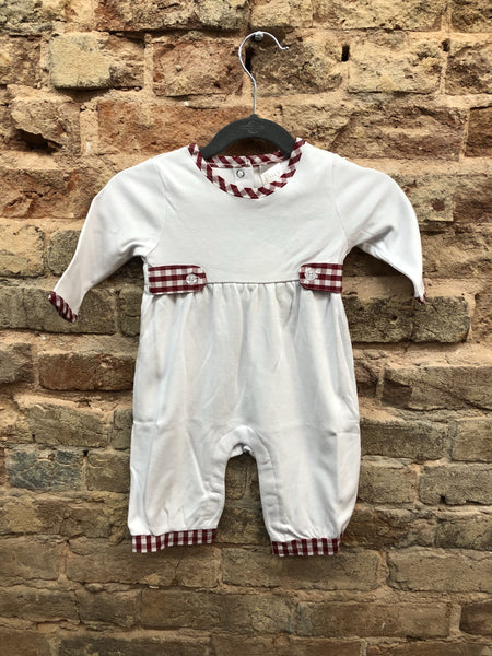 Paty Boys & Girls White Romper with Red Gingham Trim