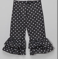 Black Polka Dot Ruffle Pants
