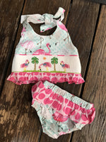 Three Sisters Flamingo Smocked 2 pc Swimsuit