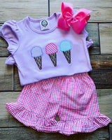Girls Short Sleeved Ruffled Shirt