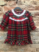 Girls Red Plaid Gown