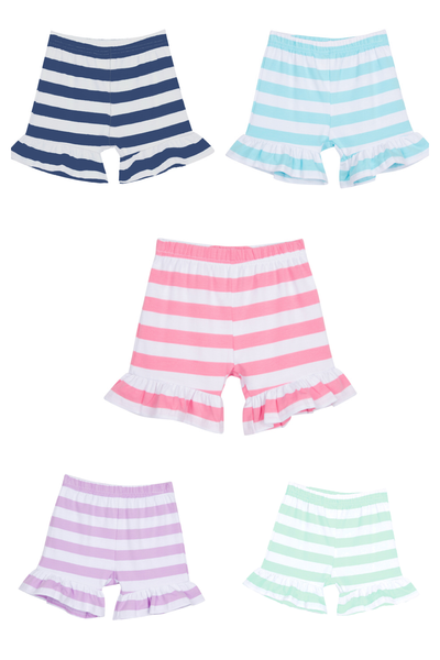 Girls Striped Ruffle Shorts