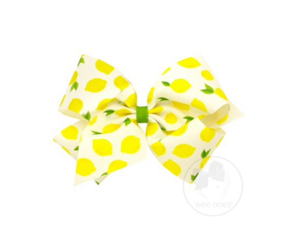 Wee Ones Lemon Fruit Print Bow