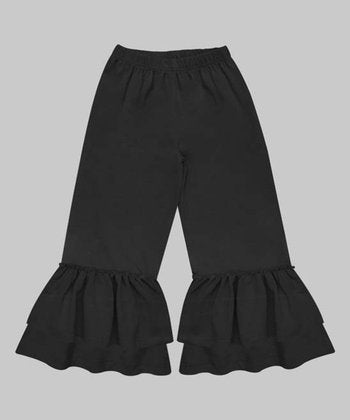 Black Denim Girls Ruffle Pants