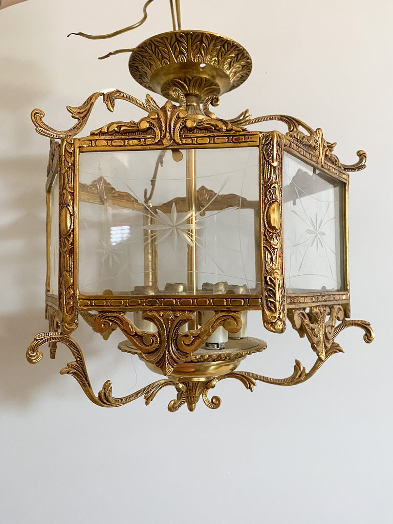 Antique Brass Semi-Flush Fixture