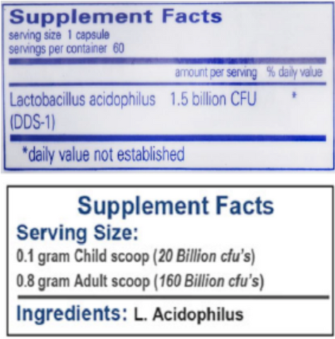 Probiotic strain example showing two L. acidophilus products with species but not strain number