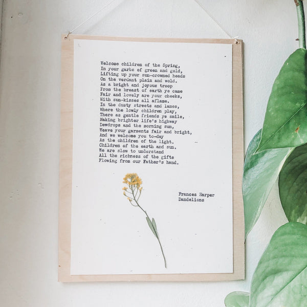 poem by frances harper, dandelions typed in typewriter font on white paper, mounted on birch wood and paired with a pressed flower. handmade décor by flora & phrase