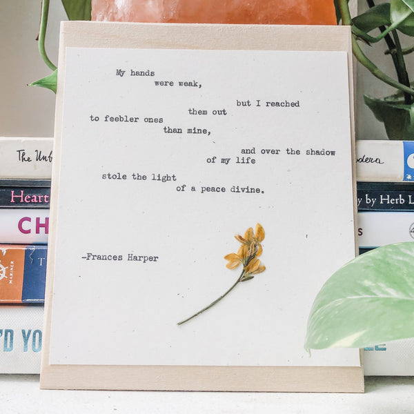quote by frances harper, dandelions typed in typewriter font on white paper, mounted on birch wood and paired with a pressed flower. handmade décor by flora & phrase
