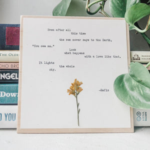 hafiz, even after all this time - #flora & phrase#