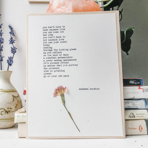 mushawn knowles, you don't have to poem typed in typewriter font on white paper, mounted on birch wood and paired with a pressed flower. handmade décor by flora & phrase