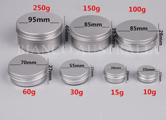 Aluminium Tin, Round, Silver, with Screw Cap, Various Sizes