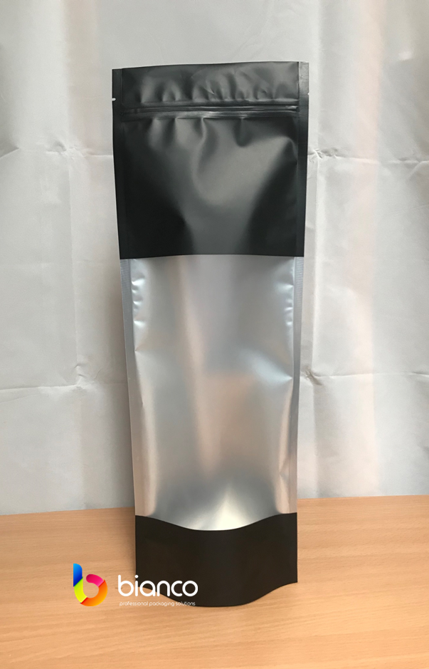 300g Stand Up Pouch, Matte Black with Frosted Rectangle Window, Zip Lock  (H410xW150+B80mm)