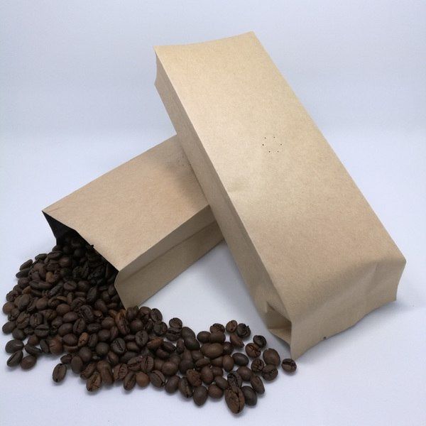 250g Side Gusset Coffee Pouch, Kraft Paper, Foil Lined, With Valve