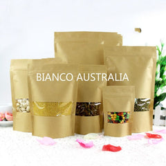 Kraft Paper Stand Up Bags, Plastic Lined, With Rectangle Winow, Zip Lock, Various Sizes ( From 28g to 1KG )