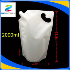 2L Spout Pouch, Gloss White, Stand Up Pouch, with Handle Hole