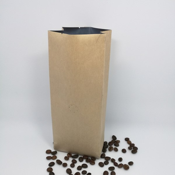 1KG Side Gusset Coffee Pouch, Kraft Paper, Foil Lined, With Valve