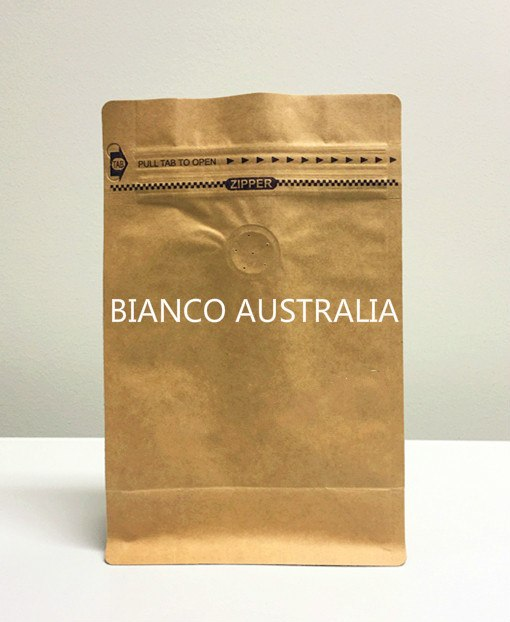 1KG Box Bottom Coffee Pouch, Kraft Paper, Foil Lined, With Valve and Tear Off Zip Lock