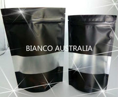 250g Stand Up Pouch, Matte Black with Frosted Rectangle Window, Plastics Lined, With Zip Lock, No Valve (H230*W160+B90 mm)