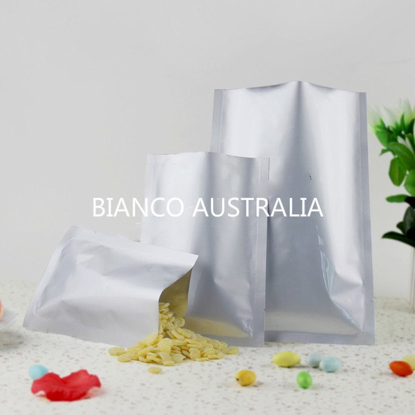 3 Side Sealed Bags, Matte Silver, Foil Lined, NO Zip, Various Sizes