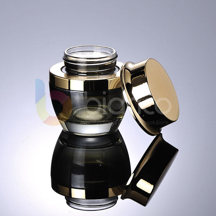 A Range of Black Glass Jars & Bottle with Golden Dropper or Lotion Pump Cap (Jar: 20g/30g/50g; Bottle: 30ml/50ml/100ml)