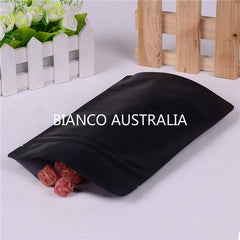 250g Stand Up Pouch, Matte Black, Foil Lined, With Zip Lock, No Valve (H230*W160+B90 mm)