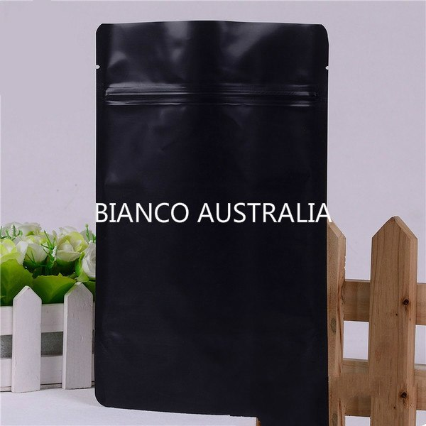 70g Stand Up Pouch, Matte Black, Foil Lined, With Zip Lock, No Valve (H170*W110+B60 mm)