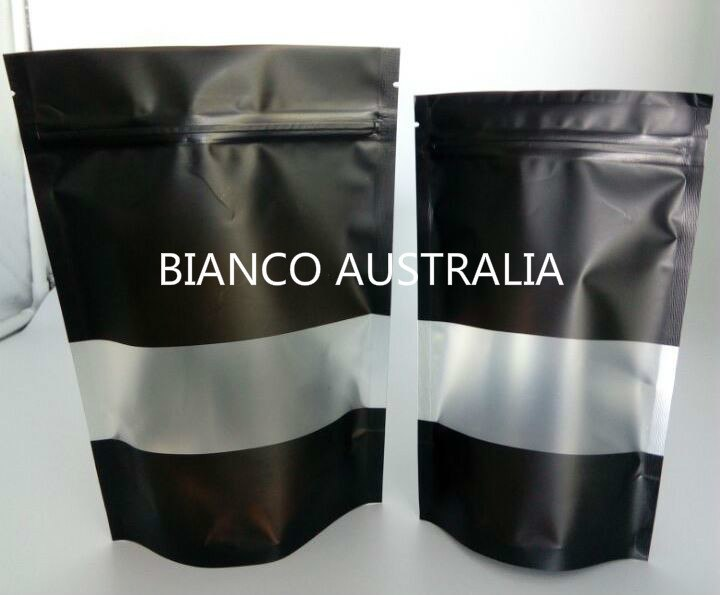 70g Stand Up Pouch, Matte Black with Frosted rectangle window , Plastics Lined, With Zip Lock (H170*W110+B60 mm)