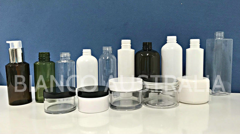 A Range of Blue Matt Finish Glass Jars & Bottle with Screw or Lotion Pump Cap (Progressive colour; Jar: 50g; Bottle: 40ml/110ml/125ml)